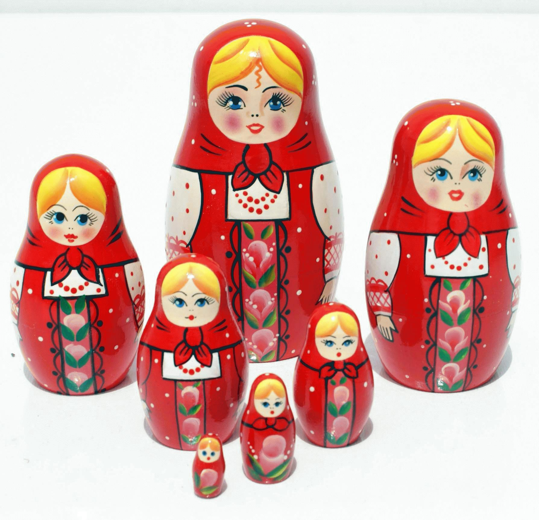 Red wooden nesting dolls sets of 7 units handmade product height of