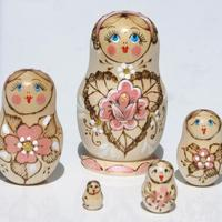 Pink flower matryoshka