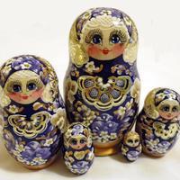 Blue wooden dolls