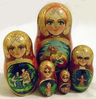 Fire bird nesting dolls