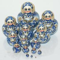 Blue matryoshka dolls