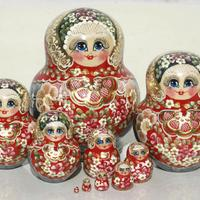 Red winter style dolls
