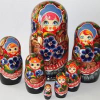 Matryoshka Blue Flowers