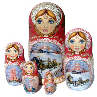 Winter handgemachte nesting dolls
