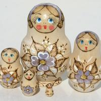 Flowers wooden dolls
