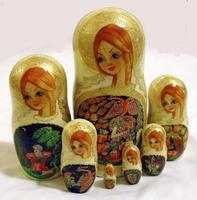 Fire bird nesting dolls