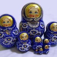 Blue chamomile matryoshka