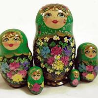 Green matryoshka with flowers